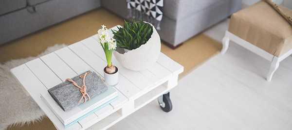 décoration style sandinave table basse en bois blanc