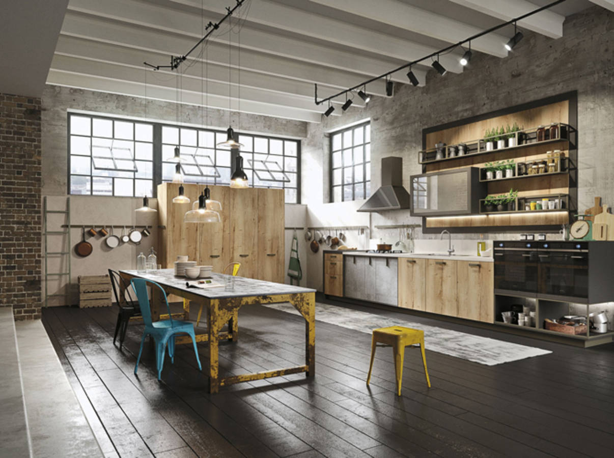 style loft industriel cuisine style design industriel idal pour loft ou grande maison with. Black Bedroom Furniture Sets. Home Design Ideas
